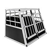 MCTECH Hundetransportbox Hundebox Autotransportbox Alubox Reisebox Gitterbox Hundekäfig (Double Klein)