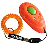 DOGSLINE Profi Clicker mit Spiralarmband für Clickertraining, orange, DL03PS
