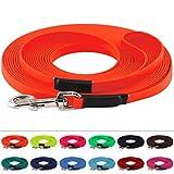 LENNIE BioThane Schleppleine, 15m mit Handschlaufe, Neon-Orange, 16mm für große Hunde, genäht