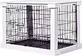 dobar 35241 Großer Hundekäfig aus Holz mit Tischoberfläche für innen, Hundebox Indoor, M, weiß