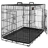 FEANDREA HundeKäfig 2 Türen Hundebox Gitterbox Transportbox DrahtKäfig Katzen Hasen Nager Kaninchen Geflügel Käfig schwarz XXXL 122 x 76 x 81 cm PPD48H