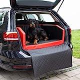 CopcoPet Travel Bed/Hunde-Reisebett aus Kunstleder/Hunde-Autobett/Wasserabweisende Tiermatratze/Hundebett mit Decke als Kratz- und Schmutzschutz (M ca. 70 x 55 cm, Rot/Schwarz)