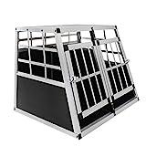 HENGMEI Alu Hundebox Hundetransportbox Reisebox Transportbox Gitterbox mit 2-Türig für Haustier (L, 2 Türig)