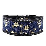 Hundehalsband aus Nylon verstellbares Nylonhalsband Bequemes Sicherheitshalsband mit reflektierender Schnalle für mittelgroße und große Hunde(L-Marineblau )