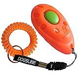 DOGSLINE Profi Clicker mit Spiralarmband für Clickertraining, orange, DL03PS