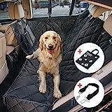 Wimypet Wasserdichte Hunde Autoschondecke mit Seitenschutz Reißverschlüsse Taschen, Universalgröße 150x137cm, Kratzfest, Rutschfeste Hundedecke mit Sicherheitsgurt und Handtashce für Auto Van SUV